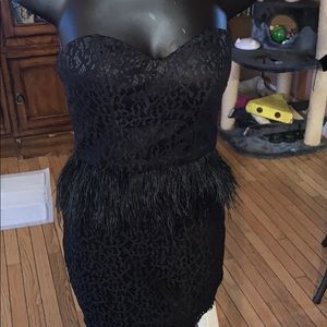 Bebe black feather dress size 6
